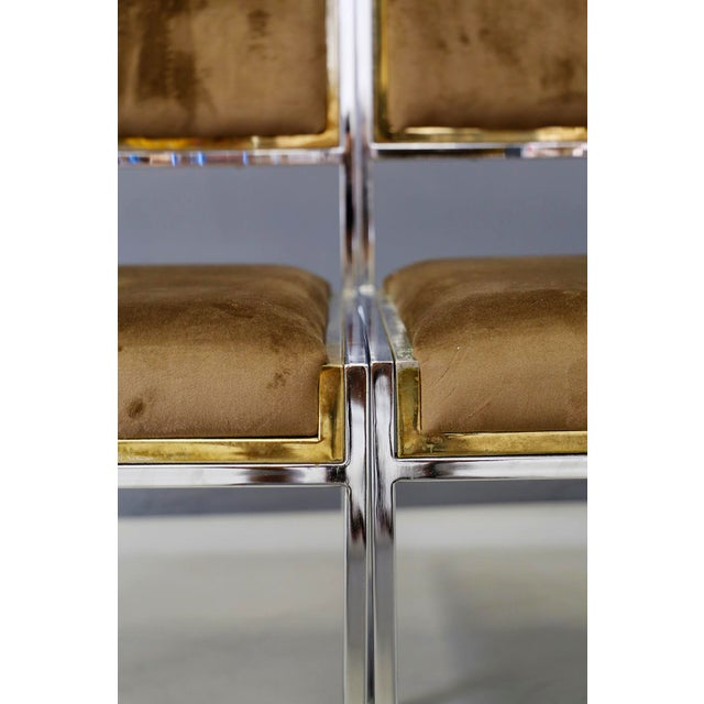 1960s Willy Rizzo Set of Six MidCentury Chair in Brass and Chamois, 1960s For Sale - Image 5 of 9