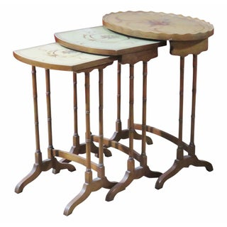French Style Paint Decorated Nesting Tables- Set of 3 For Sale