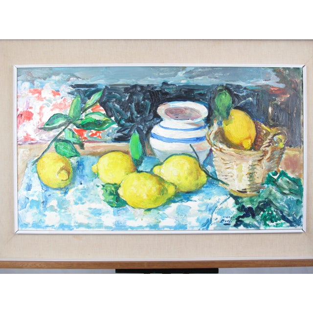 Mid century modern still life with lemons by Italian artist Mario Bucci (1903 - 1970), signed at lower right. Actual...