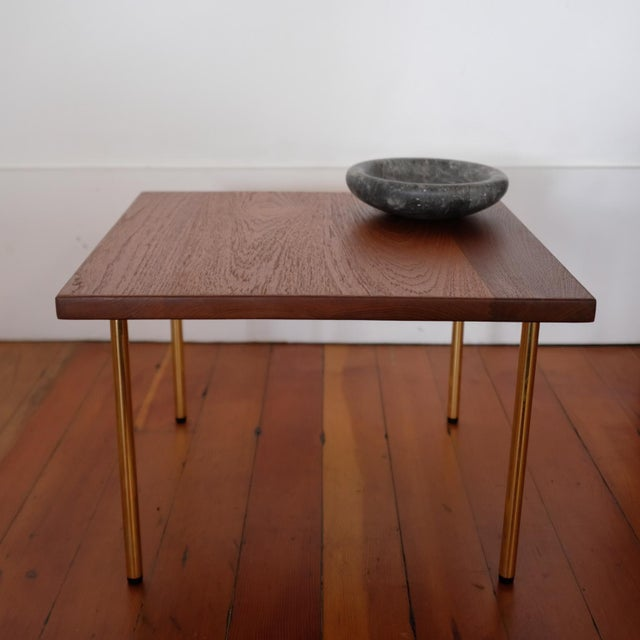 Mid-Century Modern Peter Hvidt Teak Side Table With Brass Legs, 1950s For Sale - Image 3 of 8
