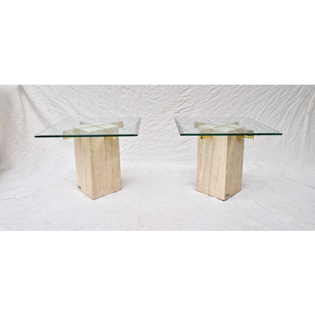 Artedi Travertine Marble Occasional Tables, Pair For Sale In Philadelphia - Image 6 of 10