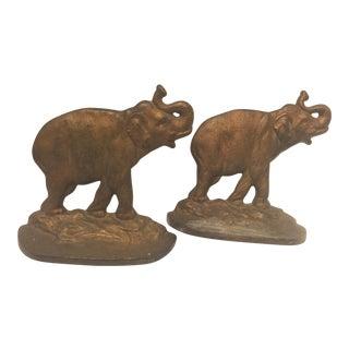 1930 Vintage Art Deco Cast Iron Elephant Bookends - a Pair For Sale