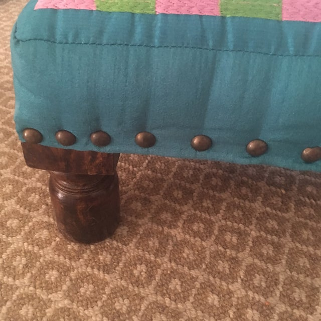 Wood 1980s Boho Chic Embroidered Turquoise Footstool For Sale - Image 7 of 9