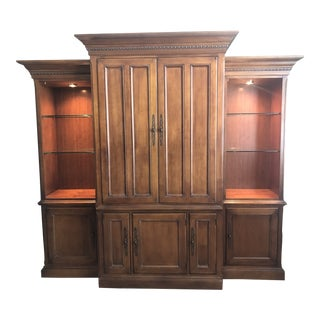 Hooker European Vintage Medium Brown Three Piece Wall Unit For Sale