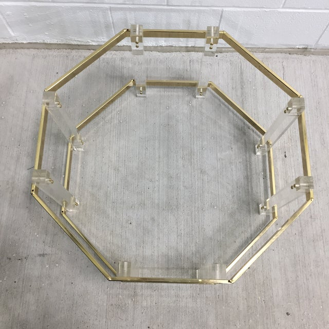 Gold Vintage Mid-Century Lucite Brass Octagonal Coffee Table Base For Sale - Image 8 of 9