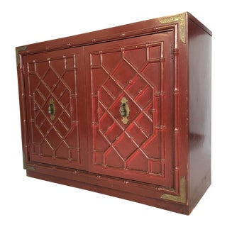 Huntley by Thomasville Faux Bamboo Chinoiserie Two-Door Cabinet For Sale
