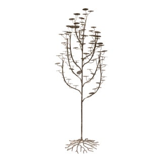 Studio a Modern Silver Hammered Metal Bough Tree Sculpture For Sale
