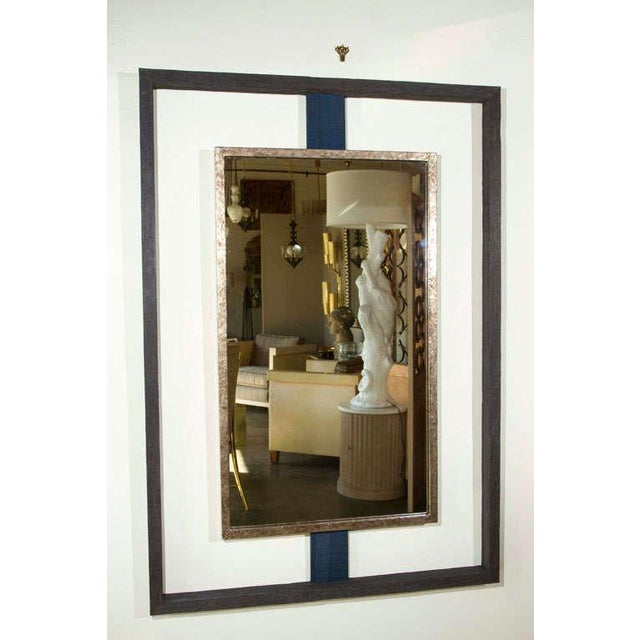Contemporary Paul Marra Negative Space Distressed Finish & Horsehair Mirror For Sale - Image 3 of 8