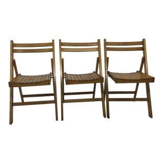 Vintage Wood Folding Chairs - Set of 3 For Sale