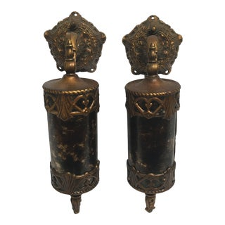Spanish Revival Wall Sconces With Mica Shades - a Pair For Sale