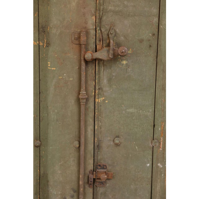 Pair of Spanish shutters: 19th century painted shutters with nice hand-forged original hardware and fittings. Each...