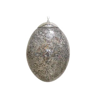 Crackled Mirrored Glass Egg Shaped Pendant For Sale