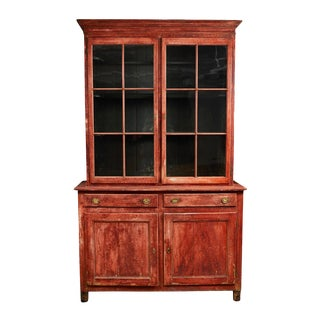 Late 19th Century Belgian Red Painted Bookcase For Sale