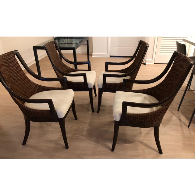 Contemporary Modern Dining Arm Chairs - A Set of 4 For Sale - Image 3 of 8