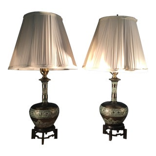 Vintage Chinoiserie Lamps With Metal Bases - A Pair