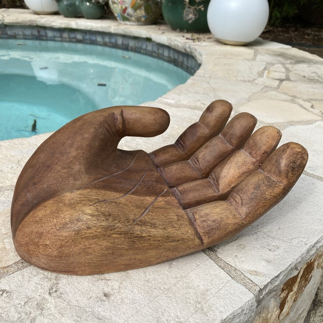 1960s Mid Century Wooden Human Hand Sculpture For Sale - Image 12 of 12