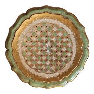 Large Mid-Century Mint Green and Gold Florentine Tray For Sale