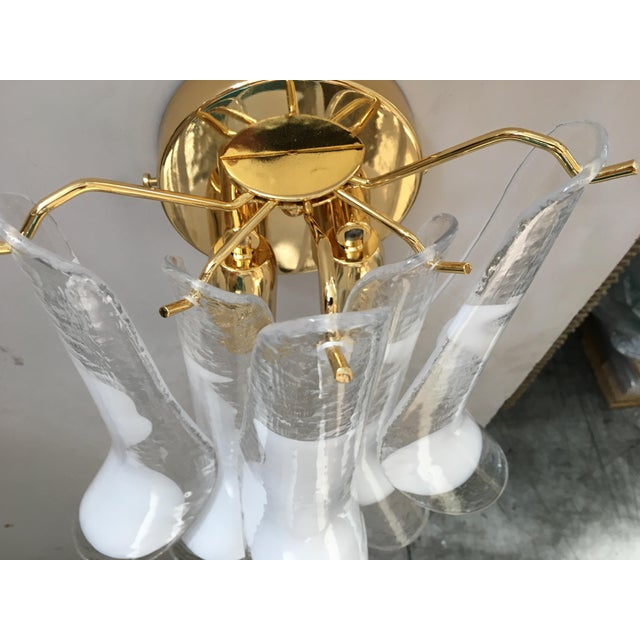 """Early 21st Century Gold Frame and Clear and White Murano Glass """"Selle"""" Wall Sconces - Set of 4 For Sale - Image 5 of 13"""