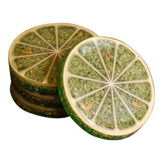 Vintage Lime Slice Coasters - Set of 4