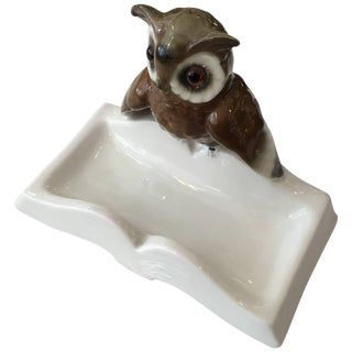 Hand-Painted Figurine Porcelain Owl on Book Ring Tray, Germany For Sale