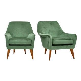 Italian Green Velvet Armchairs