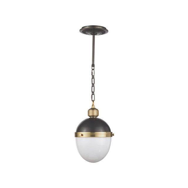 Metal Otis Pendant Small in Blackened and Natural Brass For Sale - Image 7 of 7