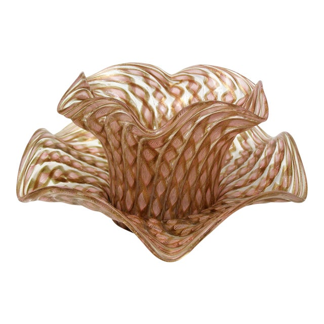 Vintage Venetian Zanfirico Latticino Glass Finger Bowl and Matching Plate by Salviati- 1950s Italy Italian Mid Century Modern MCM Millennial Pink For Sale