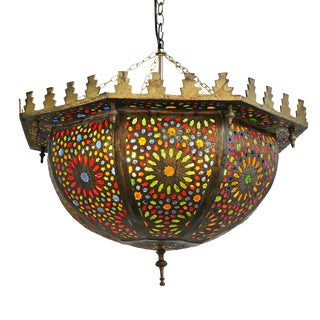 Moroccan Multi Color Bowl Lantern For Sale