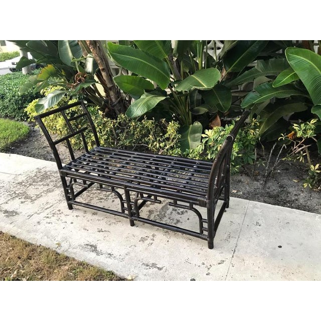Asian 1980s Vintage Geometric Fretwork Hollywood Regency Back Rattan Bench For Sale - Image 3 of 4