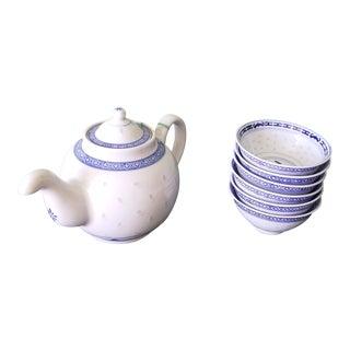Chinese Floral Porcelain Translucent Rice Grain Tea Pot and Tea Cups Set - 7 Piece Set For Sale
