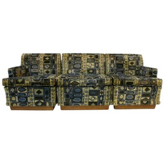 3 Piece Edward Wormley Dunbar Sectional Sofa Jack L. Larsen Fabric For Sale