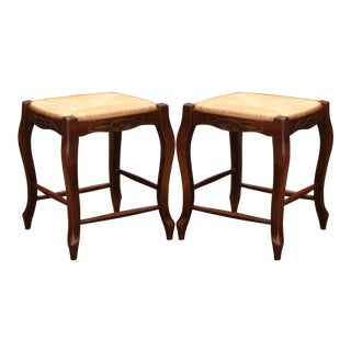 Pair of French Louis XV Carved Beech Wood Stools With Rush Seat For Sale