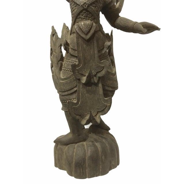 Wood Antique 1920s Carved Khamphi Rosewood Burmese Temple Guardian Statue For Sale - Image 7 of 10