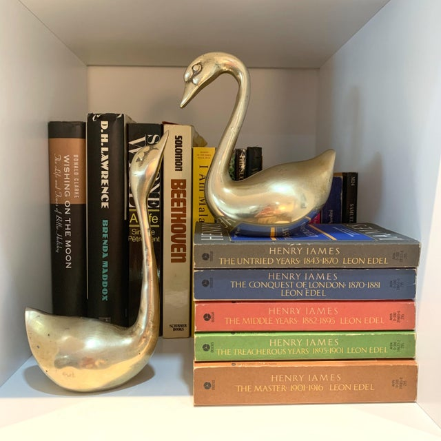 Metal Vintage Brass Swan Figurines - a Pair For Sale - Image 7 of 8