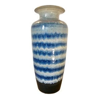 """21"""" Large Cobalt + Ink Blue Glazed Raku Vase For Sale"""