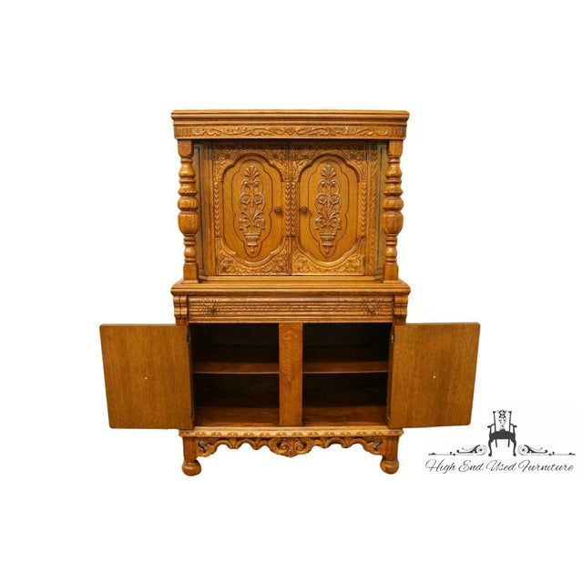 1920's Antique Jacobean Gothic Revival Solid Oak Cupboard For Sale In Kansas City - Image 6 of 13