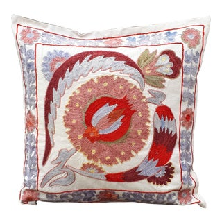 Boho Chic Light Blue and Red Floral Crochet Cushion For Sale