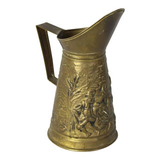 Antique 19th Century Elizabethan English Traditional Embossed Repousse Brass Pitcher For Sale