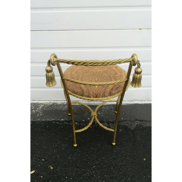 Gold 1970s Vintage Hollywood Regency Painted Gold Iron Vanity Stool For Sale - Image 8 of 11