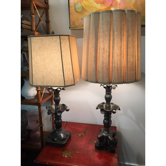 Vintage Marlboro Lighting Co Metal Pewter Table Lamps - A Pair For Sale - Image 9 of 9