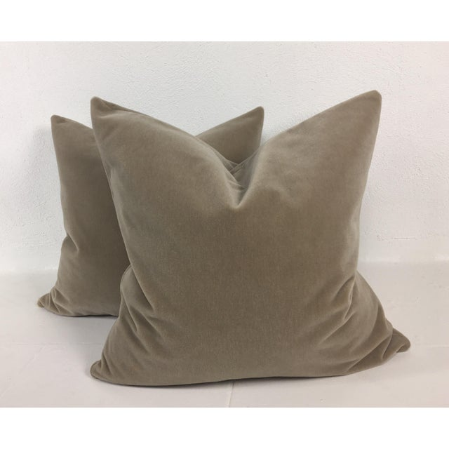 Taupe Mohair Pillows - a Pair For Sale - Image 4 of 4