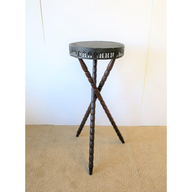 Metal 20th Century Rustic Black and Brown Tripod Side Table For Sale - Image 7 of 13