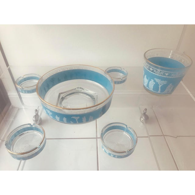 """""""Jeannette"""" Grecian Blue Jasperware Glass Party Set. Includes an ice bucket, large serving bowl, 4 ashtrays/side dishes. A..."""