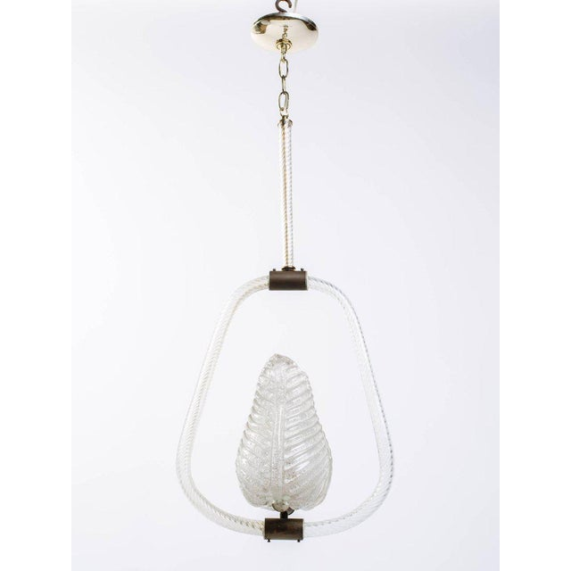 Barovier and Toso Murano Glass Leaf Pendant Chandelier, 1940's For Sale - Image 10 of 13