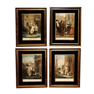"""Antique Framed Engravings From the Series """"Cries of London"""" - Set of 4"""