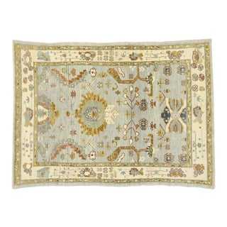 Contemporary Turkish Oushak Rug With Transitional Style - 04'02 X 05'10 For Sale
