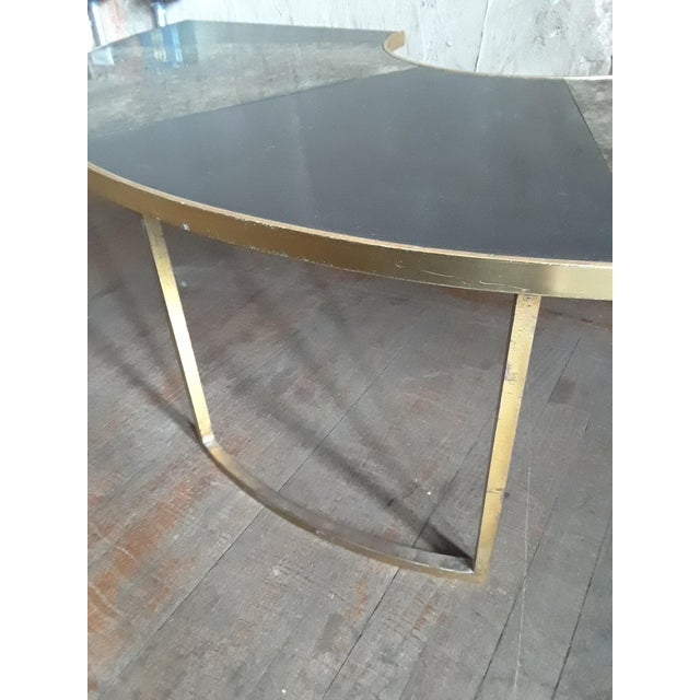 Vintage Mid Century Black and Brass Demilune Coffee Table For Sale - Image 4 of 6