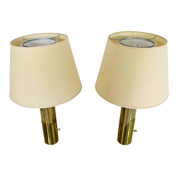 1970s Mid-Century Modern Cylindrical Brass Table Lamps - a Pair For Sale