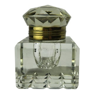 Crystal Art Deco English Ink Well For Sale