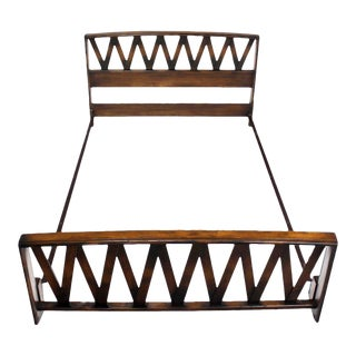 Vintage Mid Century Paul Frankl Lattice Full Bed Frame For Sale
